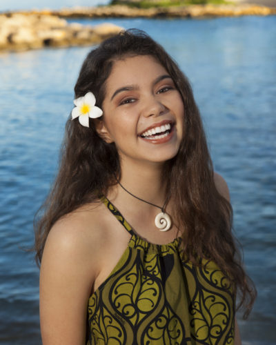 "Walt Disney Animation Studios' ""Moana"" has found her voice following a worldwide search to cast the film's title character. Native Hawaiian newcomer Auli'i Cravalho, 14, joins Dwayne Johnson in the big-screen adventure about a spirited and fearless teenager named Moana (voice of Cravalho) who, with help from demi-god Maui (voice of Johnson), sets out on a daring mission to prove herself a master wayfinder. ""Moana"" sails into U.S. theaters on Nov. 23, 2016. Photo by: Hugh E. Gentry. ©2015 Disney. All Rights Reserved."