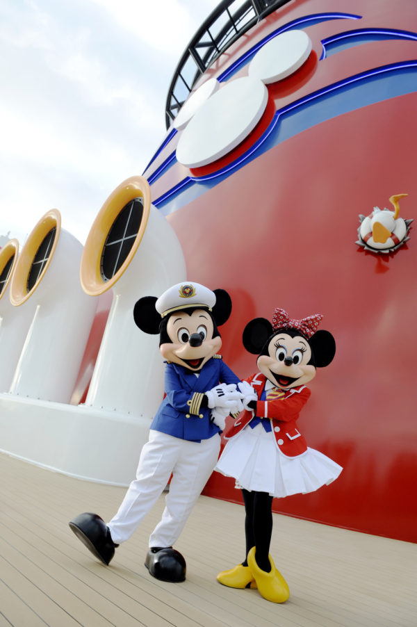 All ears on deck! The Disney Dream crew is complete with Captain Mickey Mouse and First Mate Minnie Mouse, who greet guests onboard the Disney Dream. The Disney Dream offers a myriad of enchanting experiences for the entire family, including special visits from favorite Disney characters. (Preston Mack, photographer)