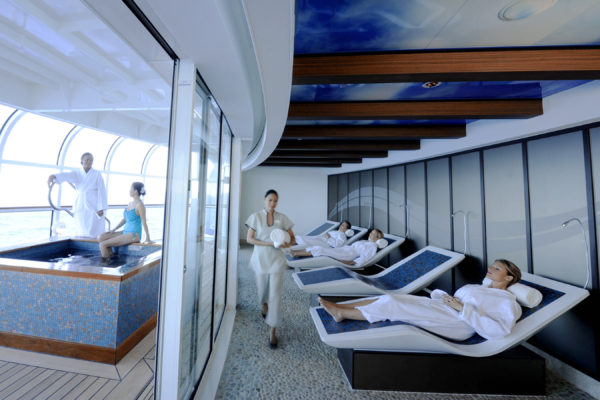 Senses Spa & Salon, an environment that provides relaxation and tranquility to adult guests aboard the Disney Dream, features the Rainforest Room. This serene space offers the benefits of steam, heat and hydrotherapy to help guests completely unwind and indulge by pampering themselves with a variety of tropical, aromatic showers, or by reclining in heated, mosaic tile loungers while observing calming ocean views. (Diana Zalucky, photographer)