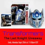 Transformers The Last Knight Giveaway #Transformers AD