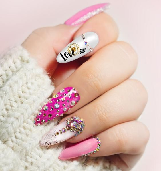 jeweled valentines day nails