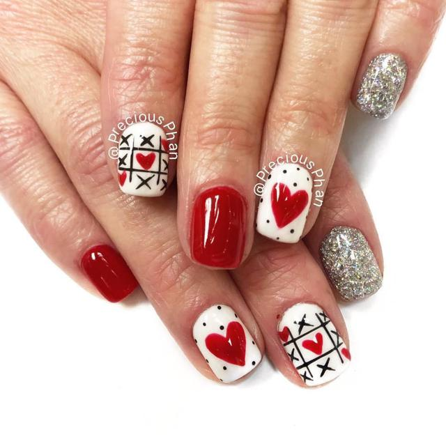 x's and o's love, hearts, valentine's day nails