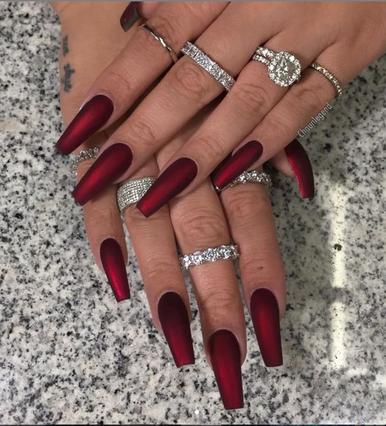 Matte red nails, Coffin shaped nails