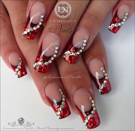 Red jewel nails, valentine's day