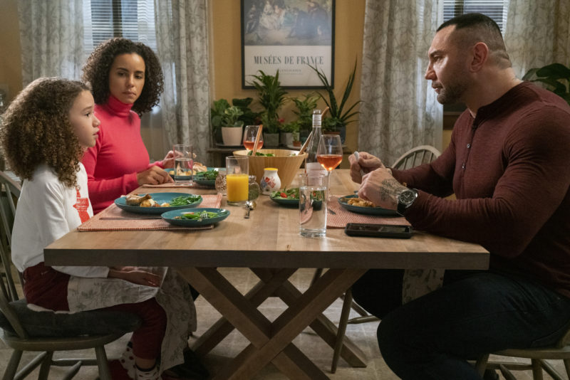 Amazon - MY SPY Image Family dinner with Chloe Coleman, Pariza Fitz-Henly and Dave Bautista at table. Post on Candypo.com