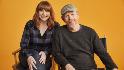 Bryce Dallas Howard and Ron Howard from Dad's Apple + tv documentary article on candypo.com
