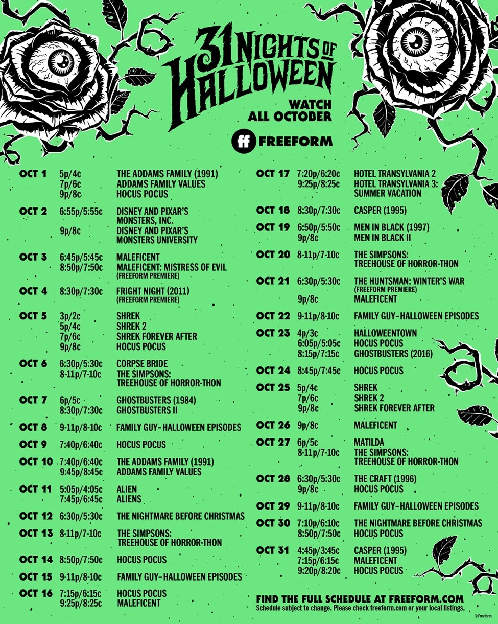 Entertainment Freeform's 31 Nights of Halloween Schedule on candypo.com